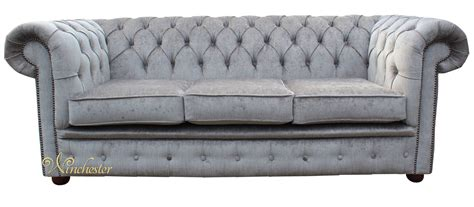 Chesterfield Settees by Chesterfield 3 Seater Settee Perla Illusions Grey Velvet