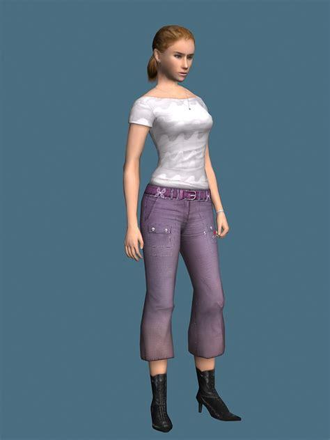 young girl rigged  model ds maxmaya files
