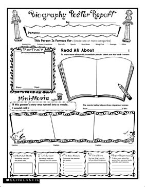biography report fill in poster printable book reports