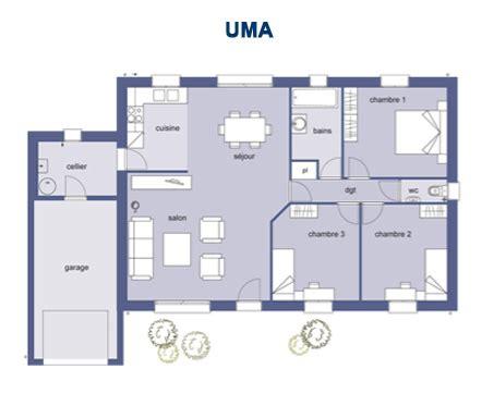 plan maison 3 chambre plain pied plan maison plain pied 100m2 3 chambres