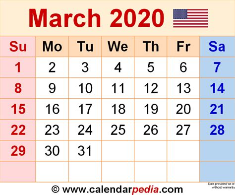 march calendars word excel