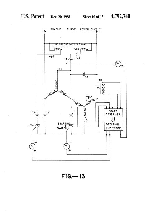 patent us4792740 three phase induction motor with single phase power supply patents