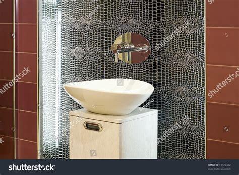 Contemporary Bathroom Design With Broken Mirror Wall Stock