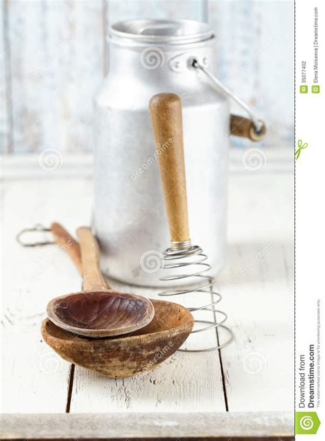 retro kitchen utensils tools   wooden table  rustic