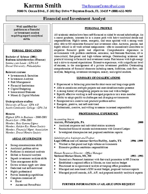resume of financial reporting analyst financial analyst resume exle