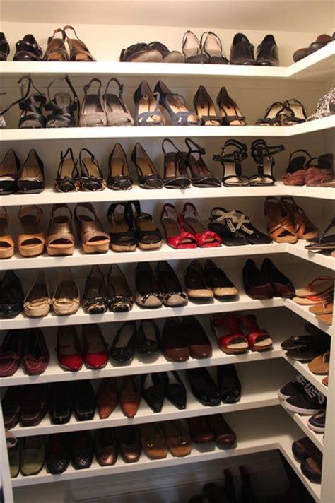 shoe shelves in walk in closet traditional closet