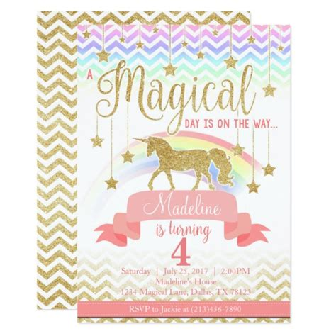 magical unicorn birthday party birthday party magical rainbow unicorn birthday party invitation zazzle