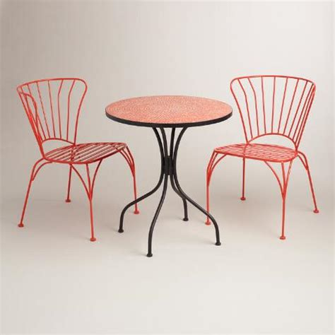 poinciana orange metal cadiz chairs set of 2 world market