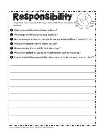 responsibility unit worksheets