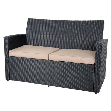 With the feature of folding, this rattan coffee table is portable and convenient to storage when do not using. Black Tuscany Rattan Wicker Sofa Garden Set With Coffee Table