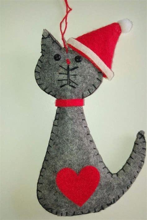 grey santa cat felt christmas tree decoration love heart