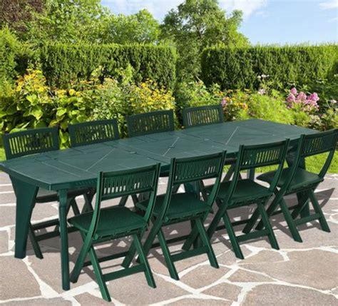 table et chaise de jardin en plastique salon de jardin en pvc vert 8 personnes ensemble table et