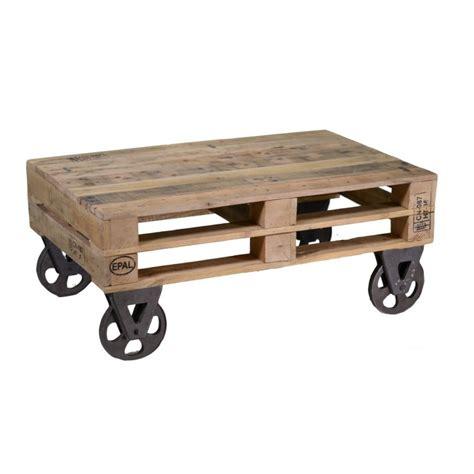 Tavolino industriale da salotto in legno di abete con