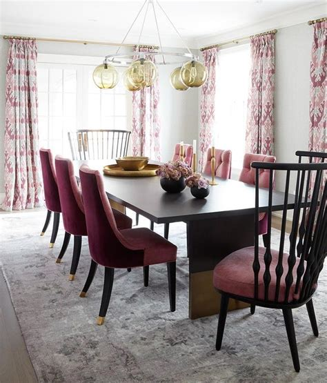 pink dining room with pink and gray rug contemporary