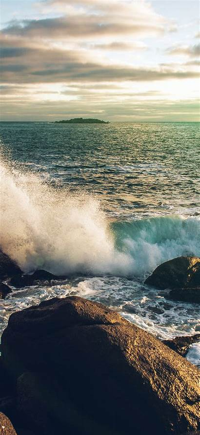 Iphone Rock Sea Cold Nature Wave Wallpapers