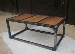 Table Basse Fer Et Bois : table basse fer bois table de salon bois blanc maisonjoffrois ~ Teatrodelosmanantiales.com Idées de Décoration
