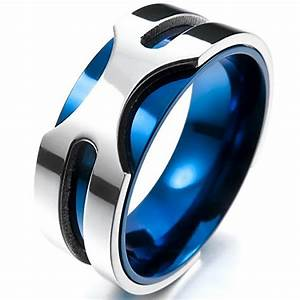 Mens 8mm Silver Blue Wedding Ring 5 Dollar Gifts