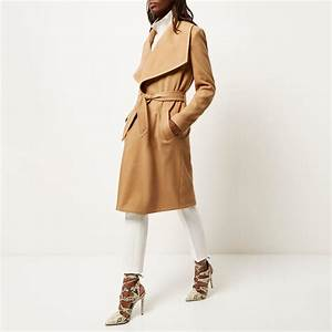 river island camel belted robe coat in natural lyst With robe river island