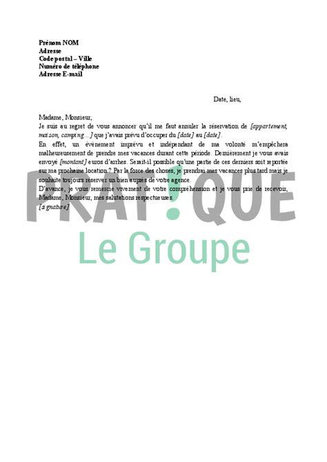 annulation commande cuisine lettre annulation de réservation de vacances pratique fr