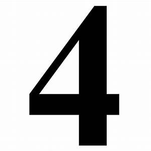 """""""Number 4 in Black Times New Roman Serif Font Typeface"""