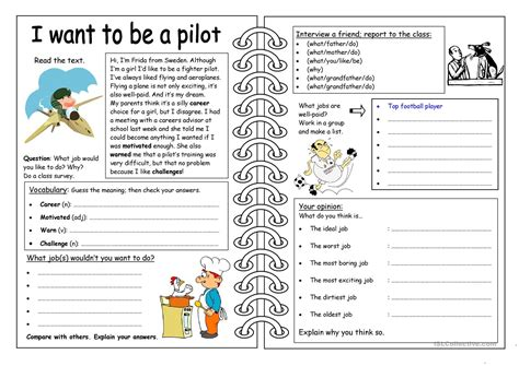 four skills worksheet i want to be a pilot worksheet 922 | four skills worksheet i want to be a pilot fun activities games 961 1