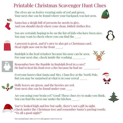 christmas scavenger hunt clues it s a merry holiday