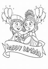 Coloring Birthday Pages Princesses Party Balloons Popular Coloringhome sketch template