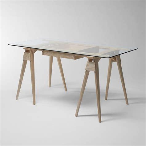 plateau de bureau en bois arco bureau en bois plateau en verre 150 x 75 cm avec