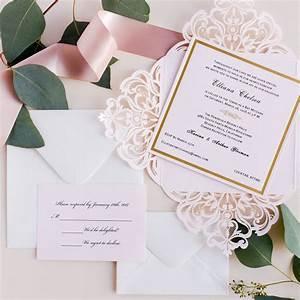romantic blush pink laser cut gold foil stamped wedding With foil stamped wedding invitations melbourne