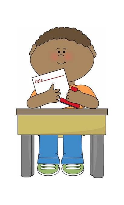Classroom Clipart Sitting Desk Job Clip Boy