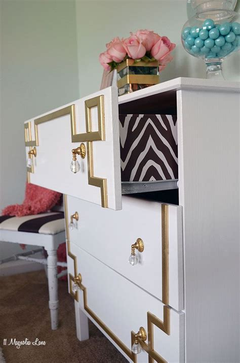 ikea dresser hack diy gold greek key furniture overlay