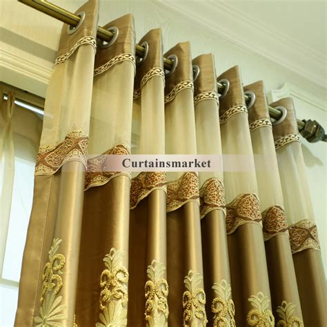Luxury Embroidery Patterned Nice Gold colored curtains