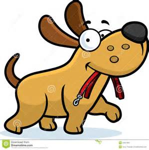 Cartoon Dog On Leash