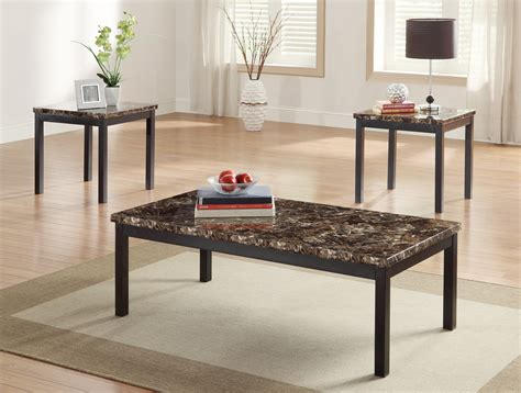 marble top coffee table set homelegance tempe 3 piece coffee table set w faux marble