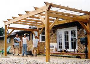 Pergola with Roof Attached to House