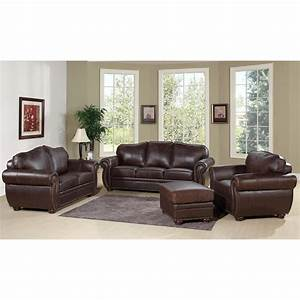 Living room leather chocolate sofa and loveseat for for At home store living room furniture