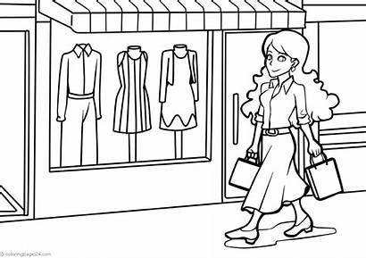 Shopping Colorir Desenhos Compras Einkaufen Coloring Desenho