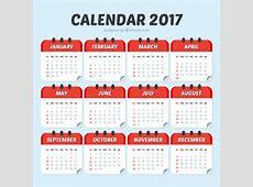 Modelo de calendario 2017 de color rojo Descargar