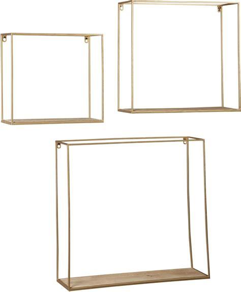 metal wood bookshelf efharis and gold wall shelf set of 3 from