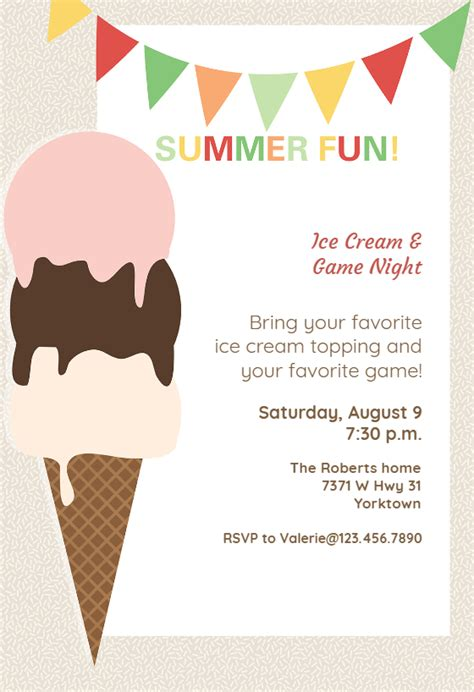 ice cream pool party invitation template