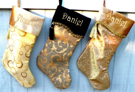 black and gold christmas stockings gold sparkle embroidered