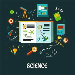 Flat Vector Creative Science Concept With Different Icons