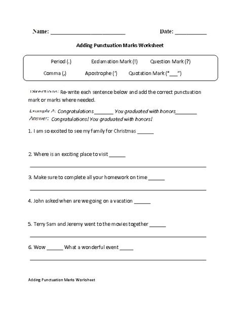 adding punctuation marks worksheet tutoring