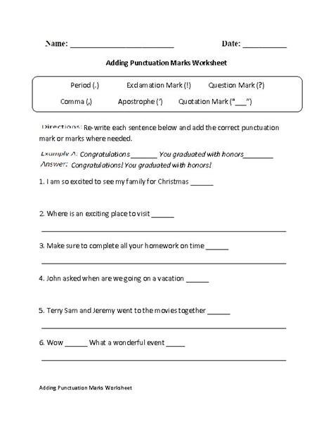 Adding Punctuation Marks Worksheet  Tutoringenglish Grammar  Pinterest  Punctuation And