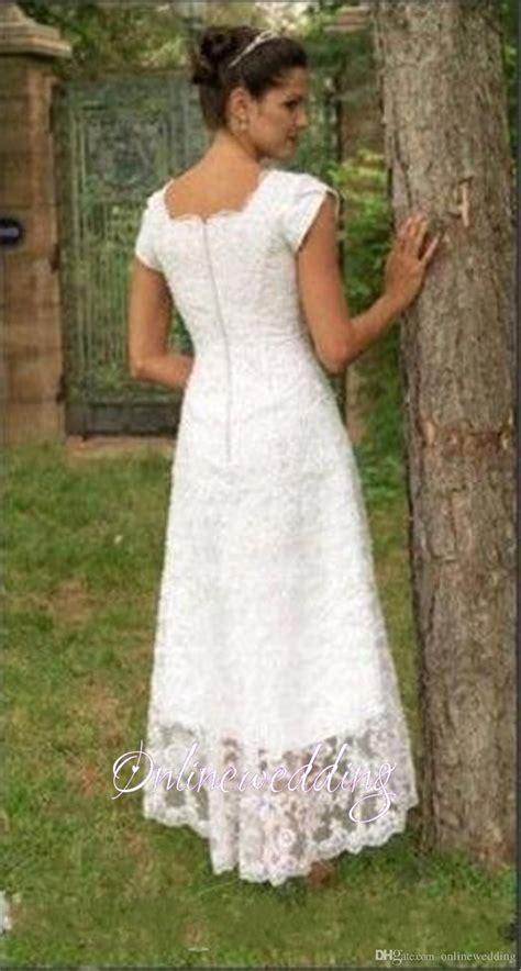 vintage short  lo wedding dresses tea length  full