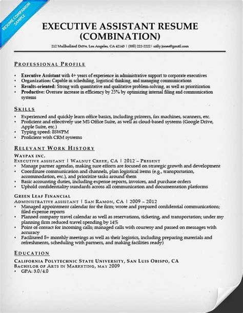 Executive Administrative Assistant Resume by Combination Resume Sles Resume Companion