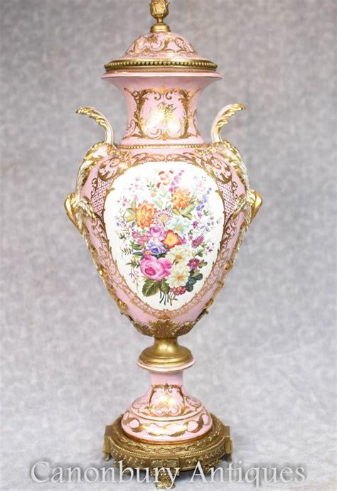 sevres porcelain floral vase single pottery urn