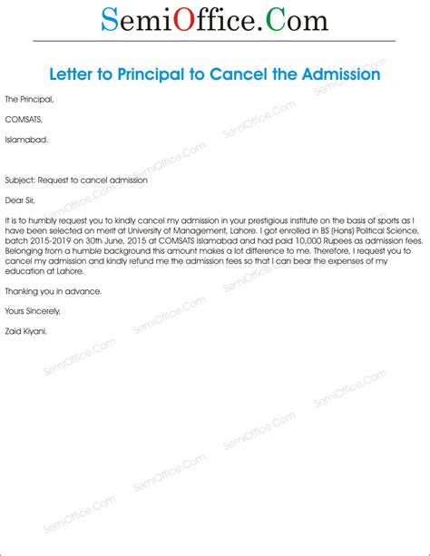 application  cancellation  admission semiofficecom