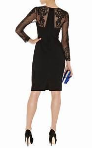 Karen millen Lace Sleeve Pencil Dress in Black   Lyst