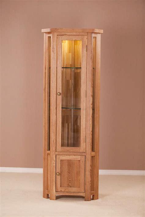 Corner Display Cabinet by Nottingham Rustic Oak Glass Corner Display Cabinet Oak World
